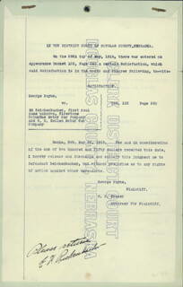 MAJOR EDWARD V. EDDIE RICKENBACKER - DOCUMENT SIGNED 05/20/1914