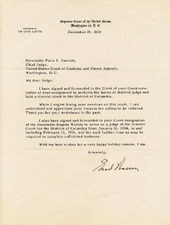 CHIEF JUSTICE EARL WARREN - TYPED LETTER SIGNED 12/19/1953