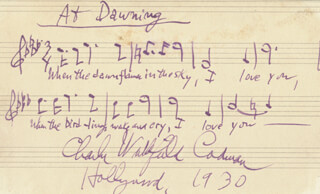 CHARLES WAKEFIELD CADMAN - AUTOGRAPH MUSICAL QUOTATION SIGNED 1930