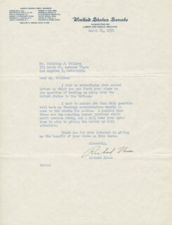 PRESIDENT RICHARD M. NIXON - TYPED LETTER SIGNED 03/21/1951