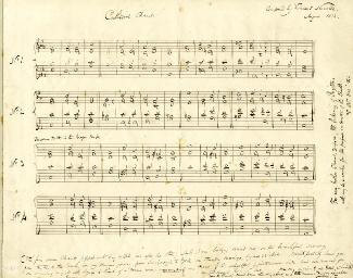 VINCENT NOVELLO - AUTOGRAPH MUSICAL MANUSCRIPT SIGNED 8/1844