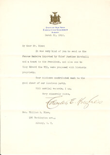 CHIEF JUSTICE CHARLES E HUGHES - TYPED LETTER SIGNED 03/21/1910