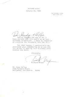 PRESIDENT RICHARD M. NIXON - TYPED LETTER SIGNED 01/25/1982