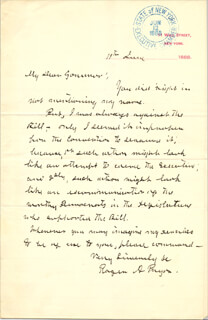 BRIGADIER GENERAL ROGER A. PRYOR - AUTOGRAPH LETTER SIGNED 06/11/1888