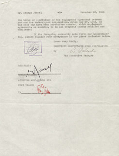 GEORGE JESSEL - CONTRACT SIGNED 11/26/1945 CO-SIGNED BY: RUDY VALLEE, LEW SCHREIBER