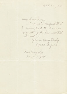 MAJOR SAMUEL HAWKINS MARSHALL MARSH BYERS - AUTOGRAPH LETTER SIGNED 04/20/1923