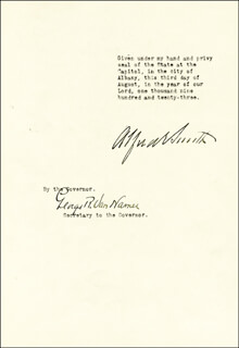 ALFRED E. SMITH - PROCLAMATION SIGNED 08/03/1923 CO-SIGNED BY: GEORGE R. VANNAMER