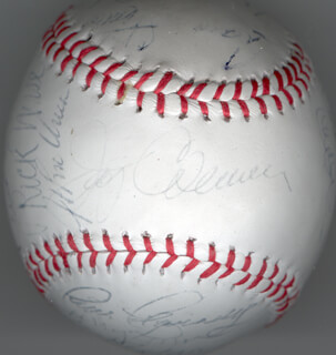 THE SAN DIEGO PADRES - AUTOGRAPHED SIGNED BASEBALL CIRCA 1980 CO-SIGNED BY: OZZIE THE WIZARD OF OZ SMITH, MIKE ARMSTRONG, JERRY COLEMAN, STEVE MURA, LUIS SALAZAR, CRAIG STIMAC, JUAN EICHELBERGER, DICK PHILLIPS, DAVE CASH, RICK WISE