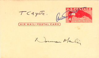 ARTHUR MILLER - POST CARD SIGNED CO-SIGNED BY: TRUMAN CAPOTE, NORMAN MAILER