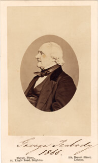 GEORGE PEABODY - PHOTOGRAPH MOUNT SIGNED 1866