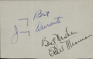 JIMMY SCHNOZZOLA DURANTE - AUTOGRAPH SENTIMENT SIGNED CO-SIGNED BY: ETHEL MERMAN