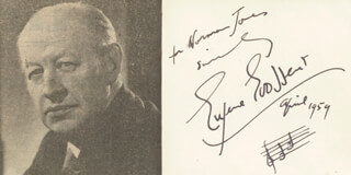 Autographs: SIR EUGENE GOOSSENS - INSCRIBED AUTOGRAPH MUSICAL QUOTATION SIGNED 4/1959