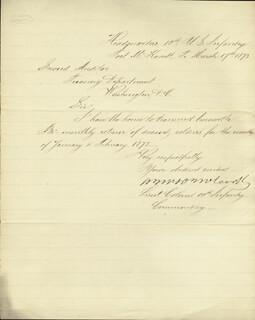 MAJOR GENERAL ALEXANDER MCDOWELL MCCOOK - AUTOGRAPH LETTER SIGNED 03/17/1873
