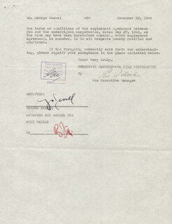 GEORGE JESSEL - DOCUMENT SIGNED 11/26/1945 CO-SIGNED BY: RUDY VALLEE, LEW SCHREIBER