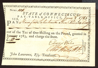 Autographs: OLIVER WOLCOTT JR. - PROMISSORY NOTE SIGNED 06/01/1785 CO-SIGNED BY: ELEAZER WALES, CONNECTICUT REVOLUTIONARY WAR, HEZEKIAH ROGERS