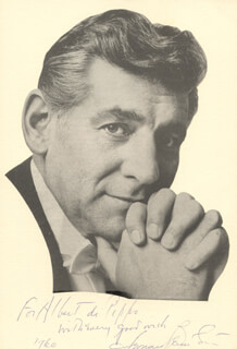 LEONARD BERNSTEIN - INSCRIBED PHOTOGRAPH MOUNT SIGNED 1960