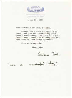 Autographs: FIRST LADY BARBARA BUSH - TYPED LETTER SIGNED 06/20/1983