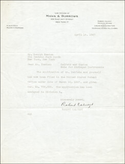ROBERT CALVERT - TYPED LETTER UNSIGNED 04/16/1947