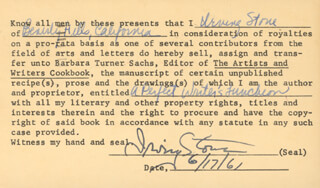 IRVING STONE - CONTRACT DOUBLE SIGNED 06/17/1961