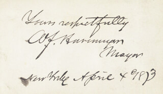 WILLIAM F. HAVEMEYER - AUTOGRAPH SENTIMENT SIGNED 04/04/1873