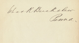 Autographs: CHARLES ROLLIN BUCKALEW - SIGNATURE(S)
