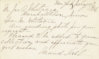 MAUD HILL - AUTOGRAPH LETTER SIGNED 07/07/1916