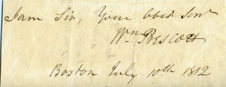 WILLIAM H, PRESCOTT - CLIPPED SIGNATURE 07/10/1812