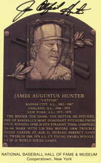JIM CATFISH HUNTER - BASEBALL HALL OF FAME PLAQUE POSTCARD SIGNED