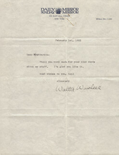 WALTER KING OF BROADWAY WINCHELL - TYPED LETTER SIGNED 02/01/1933