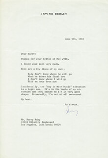Autographs: IRVING BERLIN - TYPED LETTER SIGNED 06/04/1969