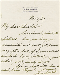 JAMES J. GENTLEMAN JIM CORBETT - AUTOGRAPH LETTER SIGNED 11/06/1927