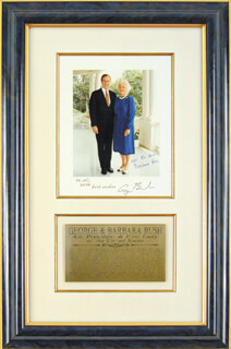 PRESIDENT GEORGE H.W. BUSH - AUTOGRAPHED INSCRIBED PHOTOGRAPH CIRCA 1982 CO-SIGNED BY: FIRST LADY BARBARA BUSH