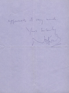 SIR NOEL COWARD - AUTOGRAPH LETTER SIGNED 08/27/1969