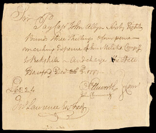 CHIEF JUSTICE OLIVER ELLSWORTH - MANUSCRIPT DOCUMENT SIGNED 12/03/1777 CO-SIGNED BY: JOHN CHENWARD, JOHN ALLYN
