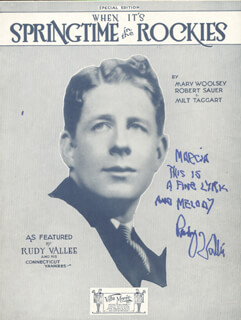 RUDY VALLEE - INSCRIBED SHEET MUSIC SIGNED