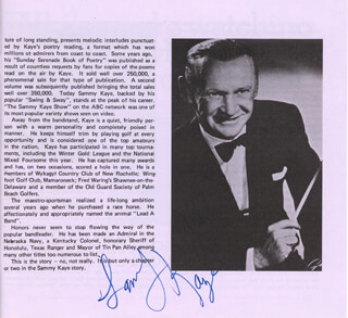 SAMMY KAYE - PROGRAM SIGNED CIRCA 1977