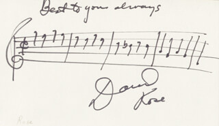 DAVID ROSE - AUTOGRAPH MUSICAL QUOTATION SIGNED