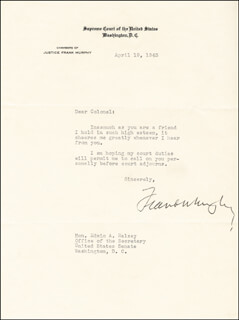 Autographs: ASSOCIATE JUSTICE FRANK MURPHY - TYPED LETTER SIGNED 04/19/1943