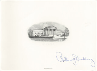 ASSOCIATE JUSTICE ARTHUR J. GOLDBERG - ENGRAVING SIGNED  - HFSID 101942