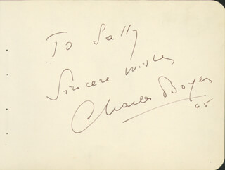 CHARLES BOYER - AUTOGRAPH NOTE SIGNED