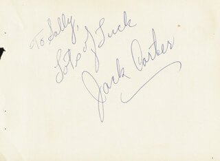 JACK CARTER - AUTOGRAPH NOTE SIGNED