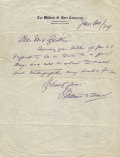 Autographs: WILLIAM S. HART - AUTOGRAPH NOTE SIGNED 06/30/1929