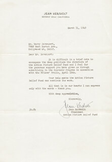 JEAN HERSHOLT - TYPED LETTER SIGNED 03/31/1949