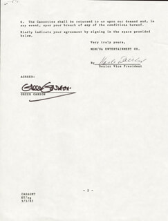 GREER GARSON - DOCUMENT SIGNED 03/05/1985