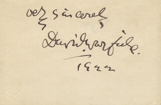 DAVID WARFIELD - AUTOGRAPH SENTIMENT SIGNED 1922
