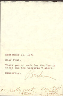 BARBRA STREISAND - AUTOGRAPH NOTE SIGNED 09/17/1971