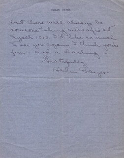 HELEN HAYES - AUTOGRAPH LETTER SIGNED 06/13/1944
