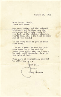 JIMMY SCHNOZZOLA DURANTE - TYPED LETTER SIGNED 08/26/1957