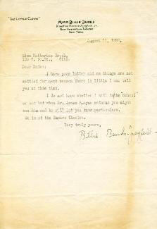 BILLIE BURKE - TYPED LETTER SIGNED 08/16/1920