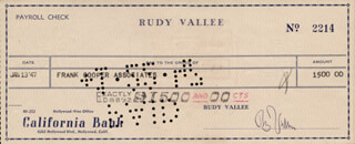 RUDY VALLEE - AUTOGRAPHED SIGNED CHECK 0/13/1947